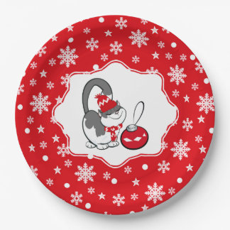 Funny Kitty Kids Christmas Party Paper Plates 9 Inch Paper Plate