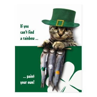 Funny Kitty St. Patrick's Day Fun Postcards