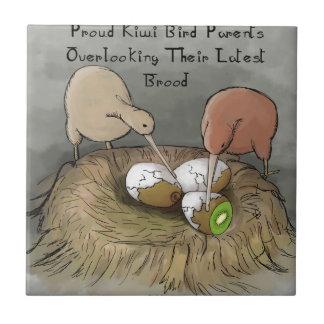 Funny Kiwi Birds Tending Their Fruit Small Square Tile