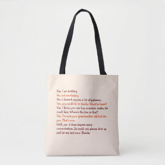 Funny Knitting Conversation Mothers Day Mom Yarn Tote Bag