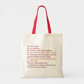 Funny Knitting Conversation Womens Moms Tote Bag