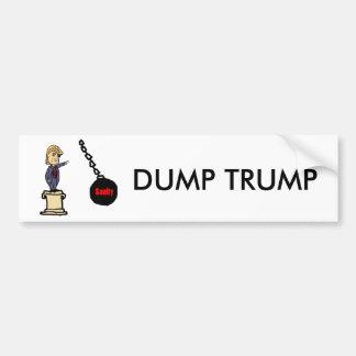 Funny Knock Trump off Pedestal Cartoon Bumper Sticker