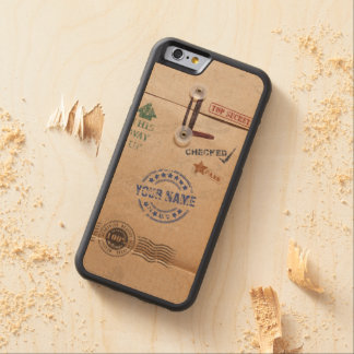 Funny Kraft Envelope with Stamps and Custom Name Carved® Maple iPhone 6 Bumper