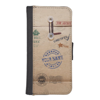 Funny Kraft Envelope with Stamps and Custom Name iPhone 5 Wallets