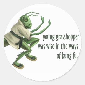 Funny Kung Fu Grasshopper Round Sticker