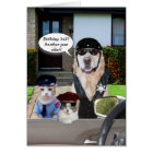 Funny Lab & Cat Officers Birthday Card