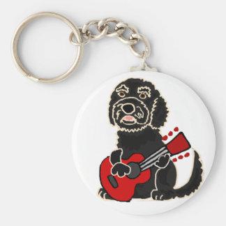 Funny Labradoodle Playing Guitar Key Ring