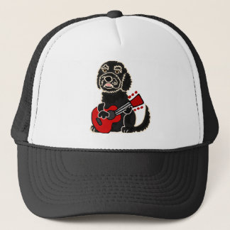 Funny Labradoodle Playing Guitar Trucker Hat