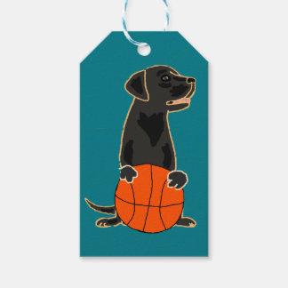 Funny Labrador Retriever Playing Basketball Gift Tags