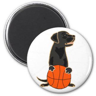 Funny Labrador Retriever Playing Basketball Magnet