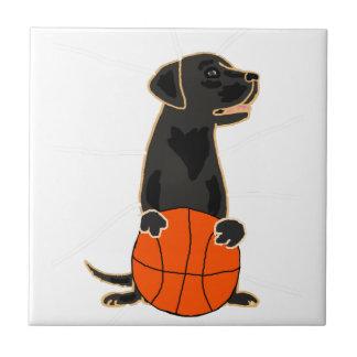 Funny Labrador Retriever Playing Basketball Tile