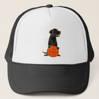 Funny Labrador Retriever Playing Basketball Trucker Hat
