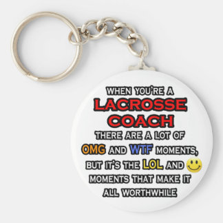 Funny Lacrosse Coach ... OMG WTF LOL Basic Round Button Key Ring