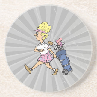 funny lady golfer cartoon graphic beverage coaster