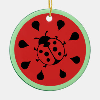 Funny Ladybug and Watermelon Ornament