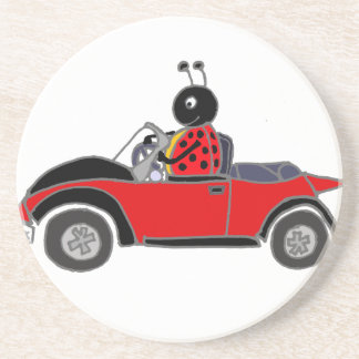 Funny Ladybug Driving Convertible Sandstone Coaster