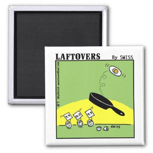 Funny Laftovers Gymnast Egg Cartoon Fridge Square Magnet