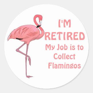 Funny Lawn Flamingo Retirement Classic Round Sticker