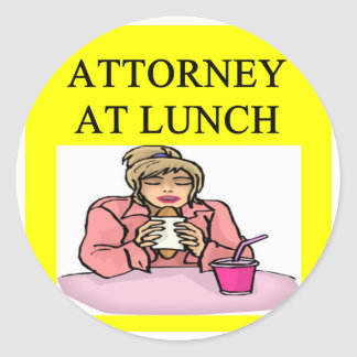 funny lawyer attorney joke round sticker