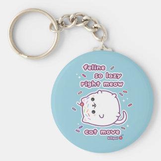 Funny Lazy Cat Pun Key Ring
