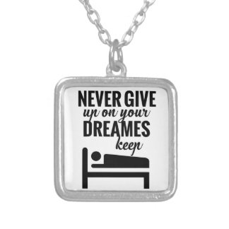 Funny lazy selective participation tshirt silver plated necklace