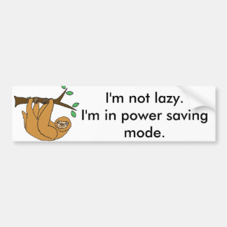 Funny Lazy Sloth Cartoon Bumper Sticker
