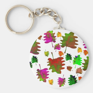 Funny leaves watercolor basic round button key ring