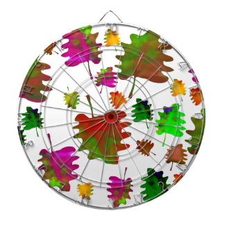 Funny leaves watercolor dartboard