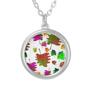Funny leaves watercolor silver plated necklace