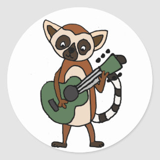 Funny Lemur Playing Guitar Art Classic Round Sticker