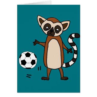 Funny Lemur Playing Soccer Cartoon Card