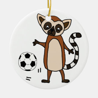 Funny Lemur Playing Soccer Cartoon Ceramic Ornament