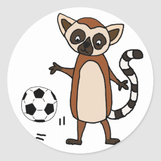 Funny Lemur Playing Soccer Cartoon Classic Round Sticker