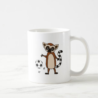 Funny Lemur Playing Soccer Cartoon Coffee Mug