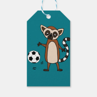 Funny Lemur Playing Soccer Cartoon Gift Tags