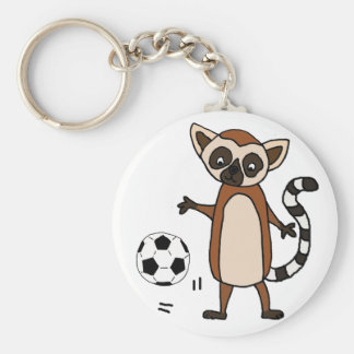 Funny Lemur Playing Soccer Cartoon Key Ring
