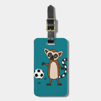 Funny Lemur Playing Soccer Cartoon Luggage Tag