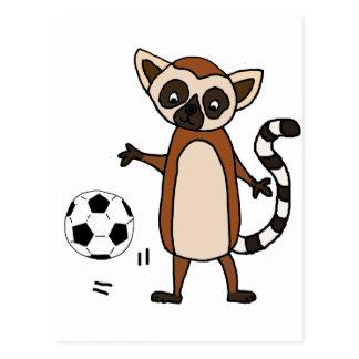 Funny Lemur Playing Soccer Cartoon Postcard