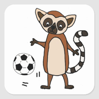 Funny Lemur Playing Soccer Cartoon Square Sticker