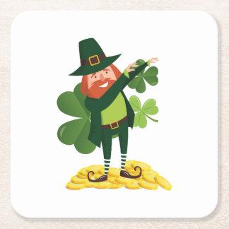 Funny Leprechaun Dab Dabbing St Patricks Day Square Paper Coaster
