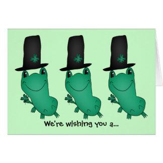 Funny leprechaun frogs card