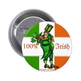 Funny leprechaun Irish flag St. Patrick's button