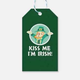 Funny Leprechaun Kiss Me I'm Irish Saint Patrick Gift Tags