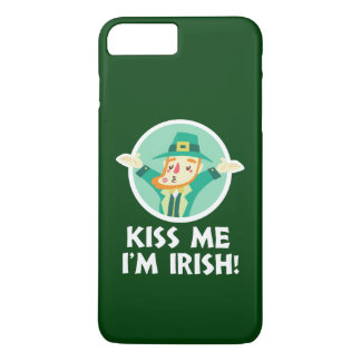Funny Leprechaun Kiss Me I'm Irish Saint Patrick iPhone 8 Plus/7 Plus Case
