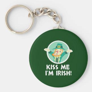 Funny Leprechaun Kiss Me I'm Irish Saint Patrick Key Ring