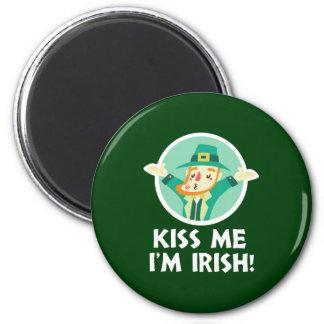 Funny Leprechaun Kiss Me I'm Irish Saint Patrick Magnet