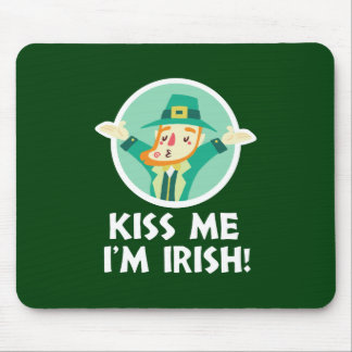 Funny Leprechaun Kiss Me I'm Irish Saint Patrick Mouse Pad