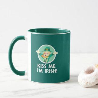 Funny Leprechaun Kiss Me I'm Irish Saint Patrick Mug