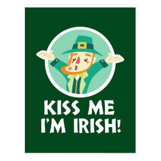 Funny Leprechaun Kiss Me I'm Irish Saint Patrick Postcard