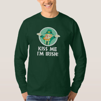 Funny Leprechaun Kiss Me I'm Irish Saint Patrick T-Shirt